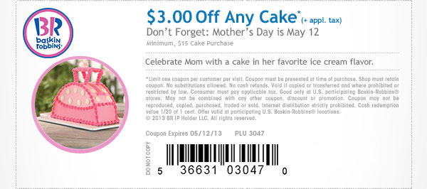 $3 off $15 on Any Cake