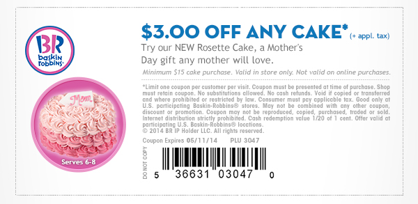 picture relating to Baskin Robbins Printable Coupons referred to as Baskin Robbins: $3 off Cake Coupon - Hunt4Freebies