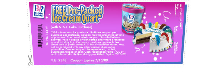 Free Pre-Packed Ice Cream Quart*